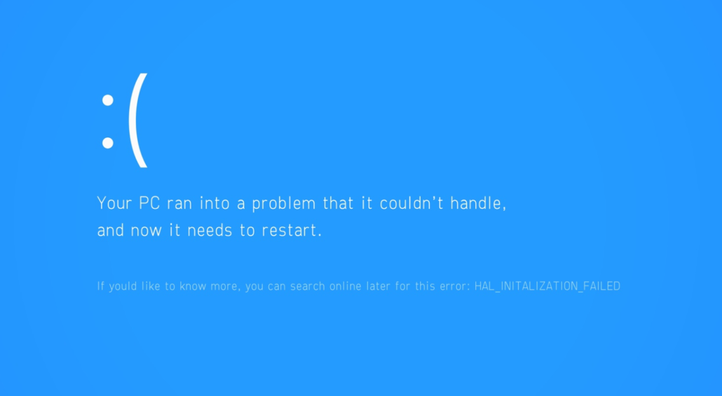 Your PC ran into a problem that it couldn't hande, and now it needs to restart error